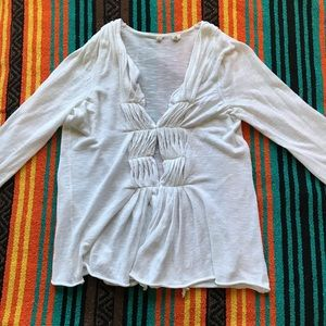 ANTHRO MOTH WHITE RUCHED MIDDLE LIGHT CARDIGAN